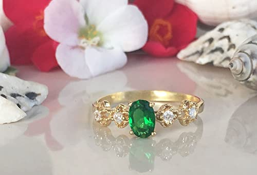 May Birthstone Jewelry Stack Ring Gemstone Band Green Ring Dainty Ring Gold Ring Prong Ring Simple Jewelry Emerald Ring