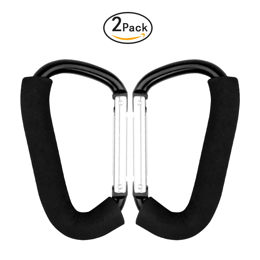 Large Multi Purpose Stroller Hooks Organizer for Hanging Purses, Diaper Bag, Shopping Bags. Clip Fits Single/Twin Travel Systems, Car Seats and Joggers, Durable and Lightweight Set of 2