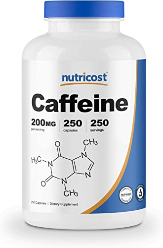 Nutricost Caffeine Pills, 200mg Per Serving 250 Caps