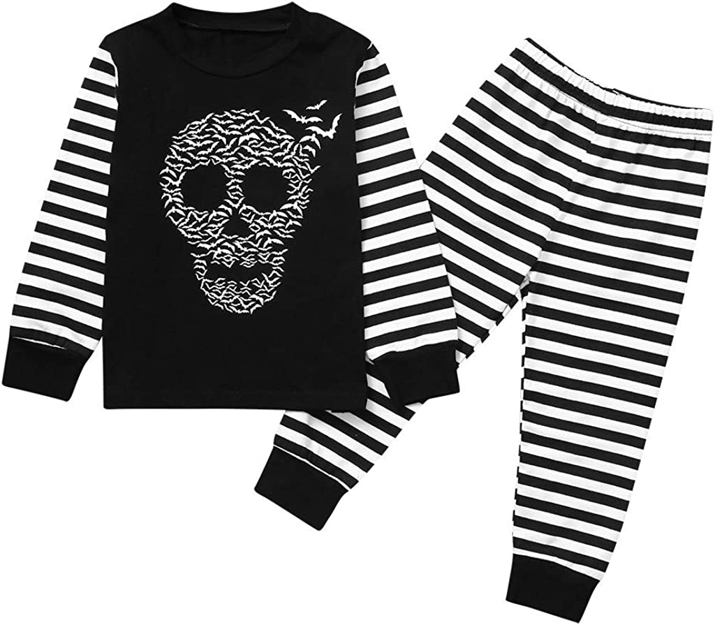Halloween Baby Boys 2Pcs,for 0-6 Years Long Sleeve Cartoon Skull Print T-Shirt Top+Striped Pants Outfits Set