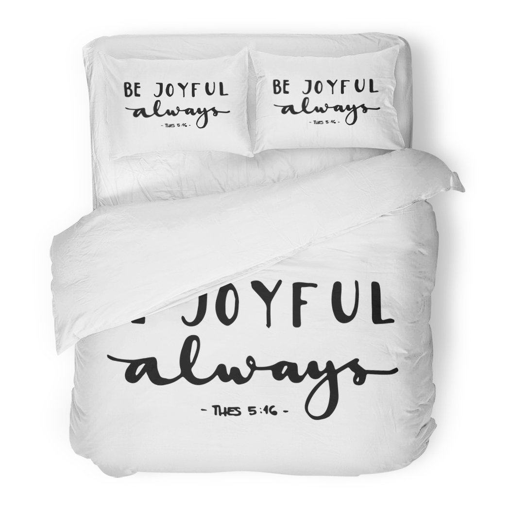 SanChic Duvet Cover Set Religious Be Joyful Bible Verse Hand Lettered Quote Modern Calligraphy Christian Hope Decorative Bedding Set Pillow Sham Twin Size by SanChic