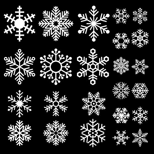 Christmas Window Gel Stickers - DECORA 48 Pieces Snowflake Glass Cling Window Film Sticker Static Decal for Holiday and Winter Wonderland Themed Birthday Decoration