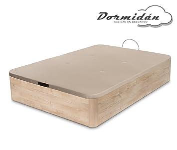 Dormidán - Canapé abatible de Gran Capacidad con Esquinas Redondeadas en Madera, Base tapizada 3D Transpirable + 4 válvulas aireación 90x190cm Color Roble: ...