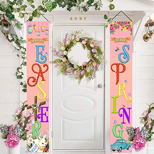 Bonsai Tree Easter Decorations for Home, Happy Easter Hanging Vertical Banners Porch Signs Decor, Easter Bunny Eggs Hello Spring Welcome Sign for Front Door Yard Wall Outdoor Indoor Party 12 x 71 Inch