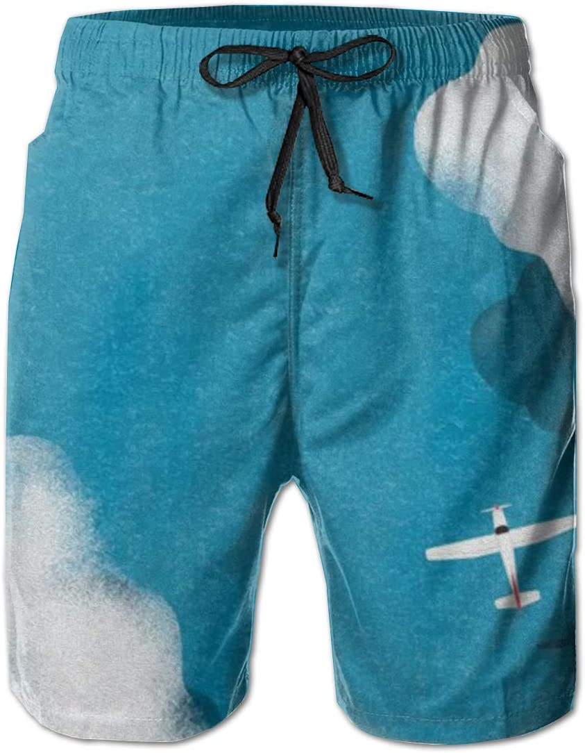 Mens Swim Trunks Blue Sky with Airplane Beach Board Shorts Quick Dry Sports Running Swim Board Shorts with Pockets Mesh Lining