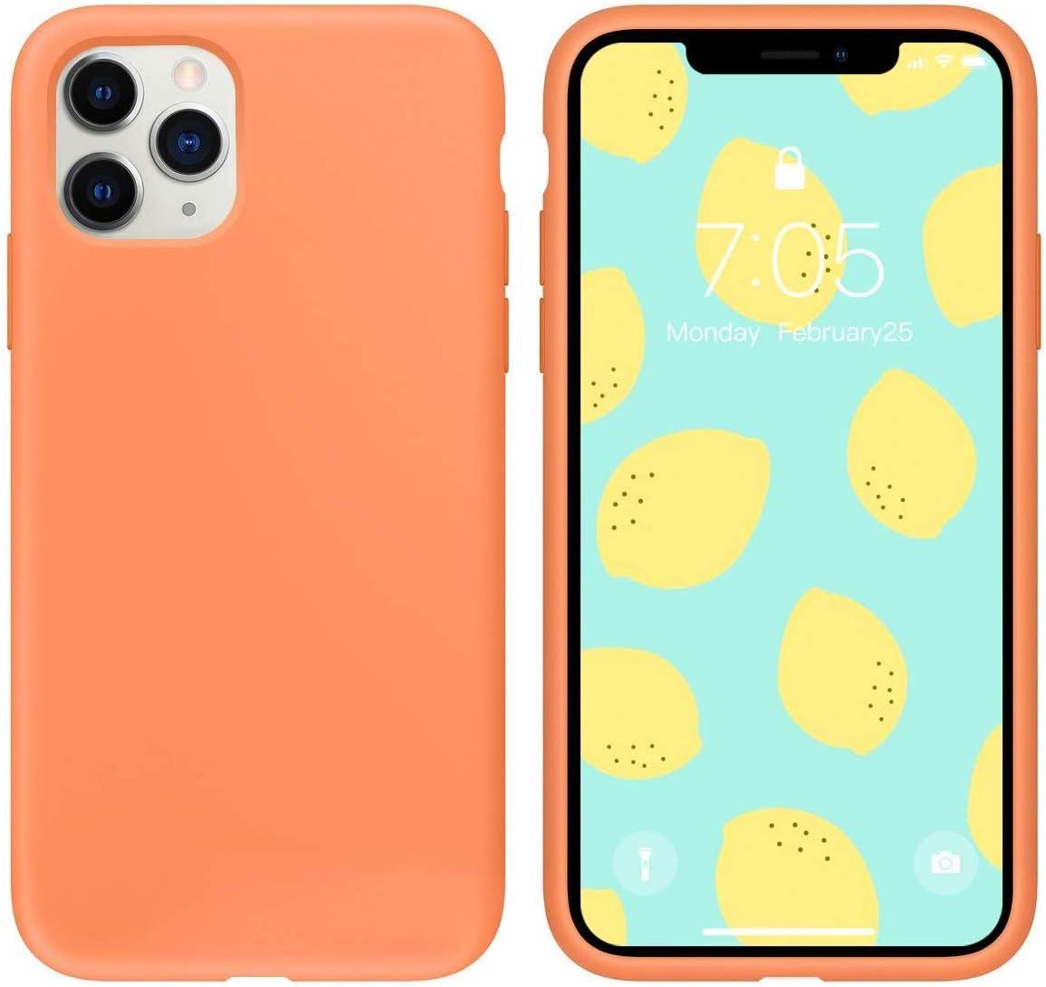 IceSword iPhone 11 Pro Max Case Orange, Thin Liquid Silicone Case, Soft Silk Microfiber Cloth, Matte Pure Orange, Gel Rubber Full Body, Cool Protective Shockproof Cover 6.5