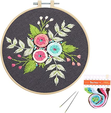 Louise Maelys Cross Stitch Kit Full Range DIY Embroidery Starter Kit with Pattern Stamped Embroidery Kits Set for Beginner 3 Pack