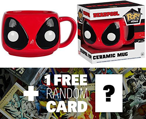 Deadpool: 12 oz. Funko POP! Home x Deadpool Mug + 1 FREE Official Marvel Trading Card Bundle (77082)