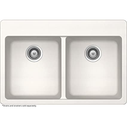 Elkay By Schock Dual Mount Quartz Composite 33 In. Double Bowl Kitchen Sink  In White
