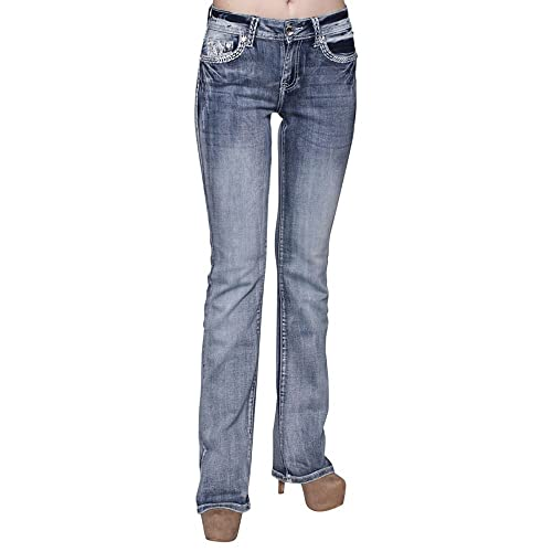Sexy Couture Women's S139-PB Dark Wash Rhinestone Stitched Boot Cut Jeans
