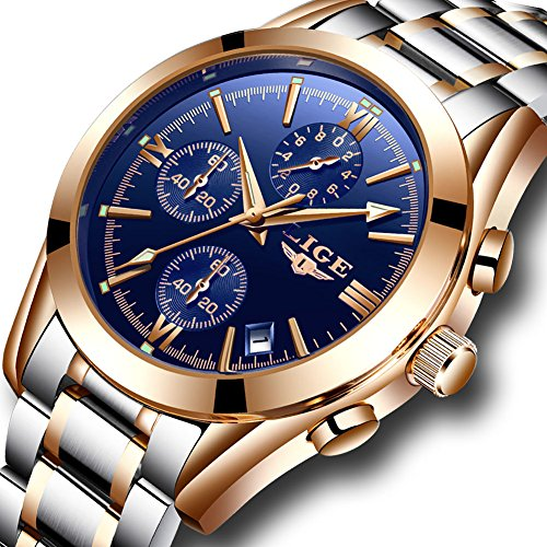 Mens Watches Fashion Casual Full Steel Sport Quartz Watch Men Luxury Brand LIGE Waterproof Business Dress Wristwatch (Sale Amazon)