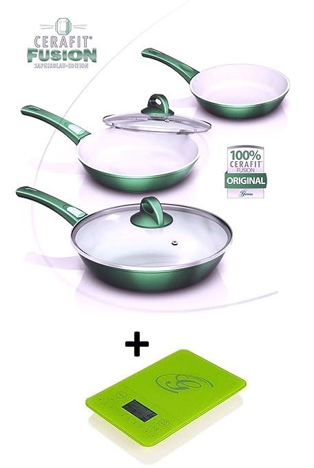 NUEVO ORIGINAL Genius DIS1 Cerafit Fusion Juego de sartenes (8 piezas, verde esmeralda con