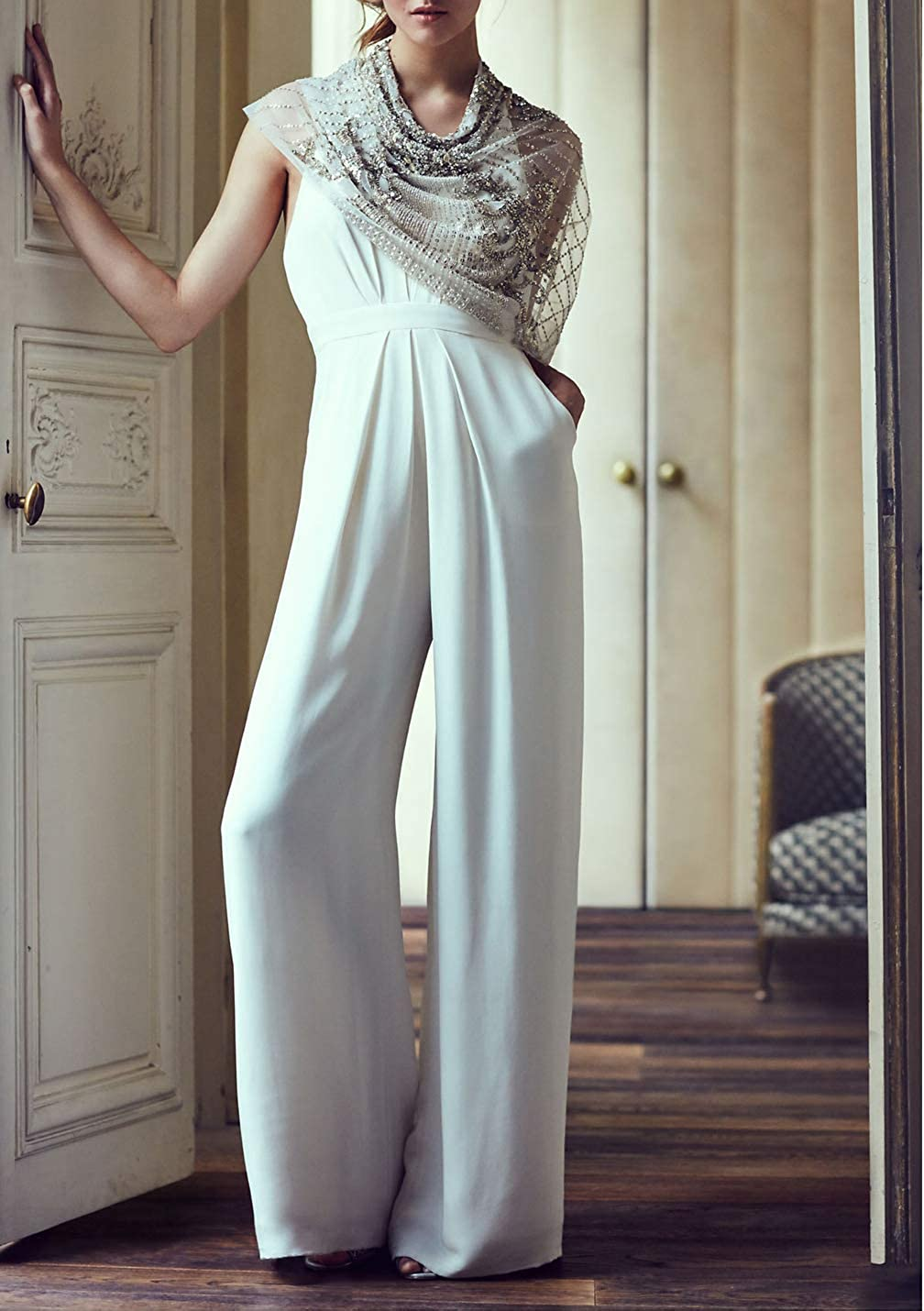 Women Jumpsuits Rompers Halter Backless High Waisted Palazzo Pants Playsuit