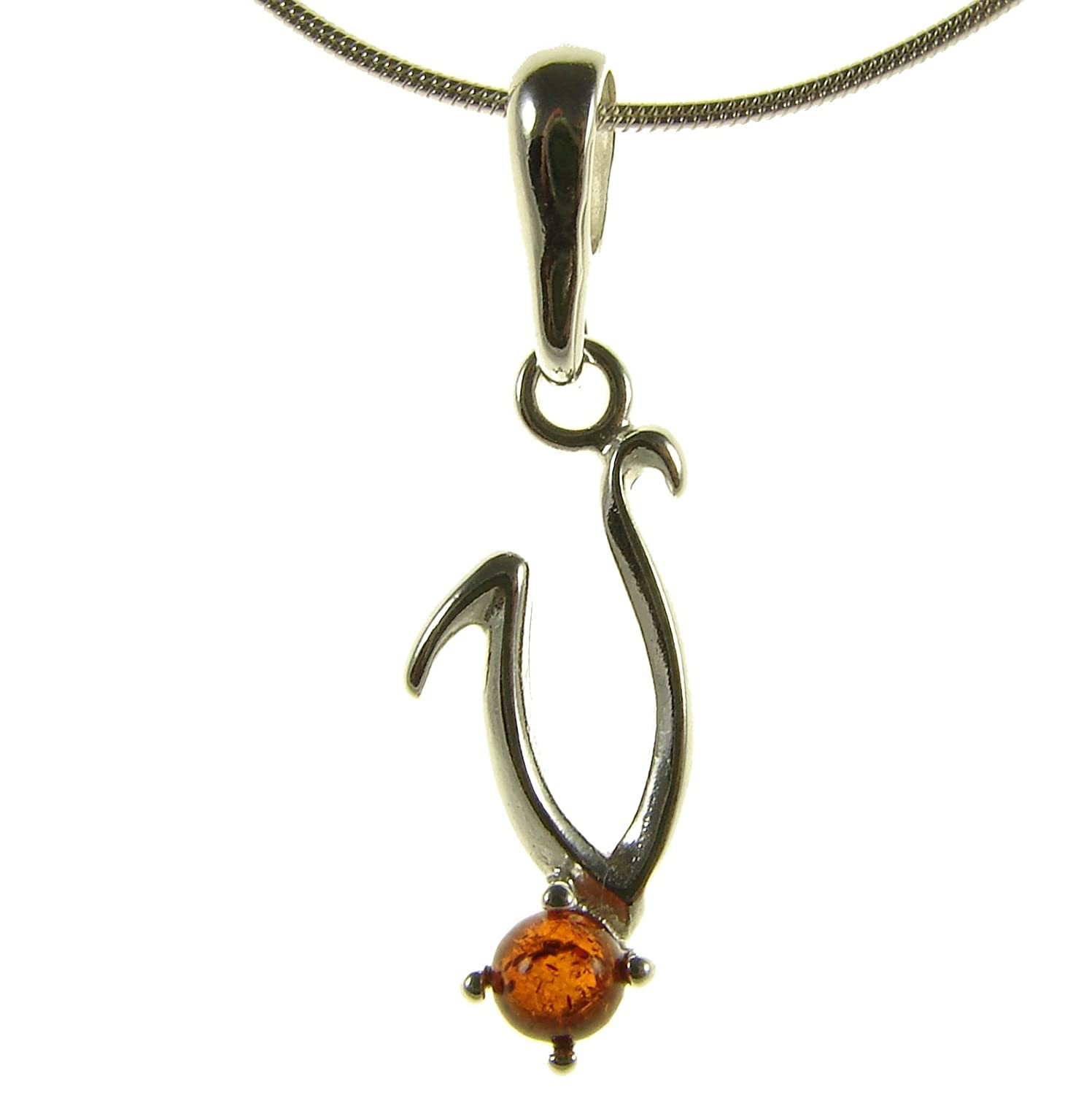 BALTIC AMBER AND STERLING SILVER 925 ALPHABET LETTER V PENDANT NECKLACE 10 12 14 16 18 20 22 24 26 28 30 32 34 36 38 40 1mm ITALIAN SNAKE CHAIN