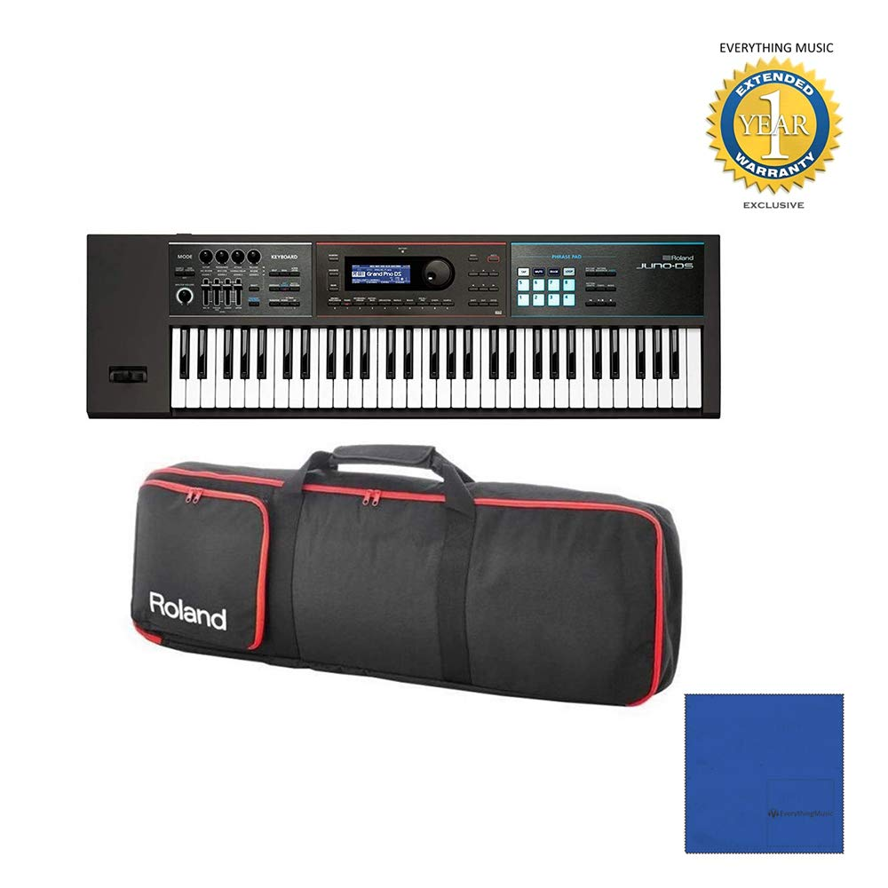 Roland JUNO-DS61 61-key Synthesizer with Gigbag RAM-4879 Bundle with Microfiber and 1 Year Everything Music Extended Warranty by Roland