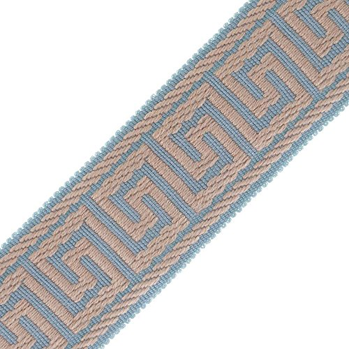 """2 3/8"""" (60MM) Greek Key Jacquard - Pale Blue/Antique - Sold by The Yard from M&J Trimming"""