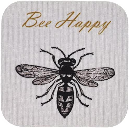 3dRose cst_164562_2 Bee Happy Inspirational Chic Art-Soft Coasters, Set of 8