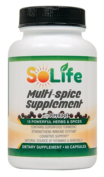 15 Healthy Herbs & Spices Herbal Supplement Turmeric Curcumin Piperine  Ginger Garlic Rosemary