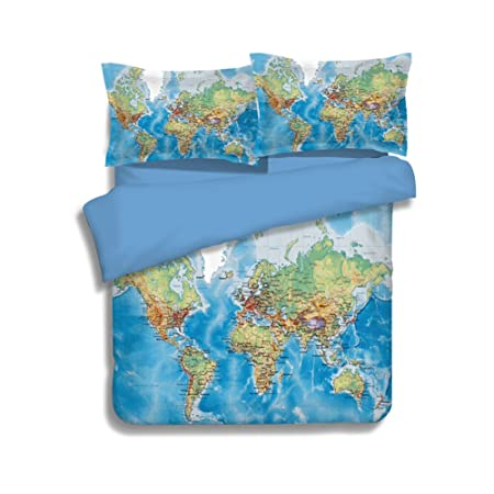 World map bedding sets 100 polyester memorecool detailed high world map bedding sets 100 polyester memorecool detailed high clear design great home decor no gumiabroncs Choice Image