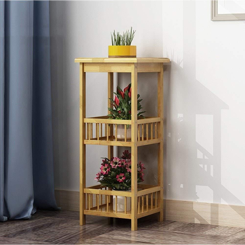 Pet harem AA- Bambus-Blumenstand-Boden-Boden-mehrstöckiges Balkon-Wohnzimmer-Blumen-Topf-Regal 0426 (größe : 33 * 33 * 78cm)