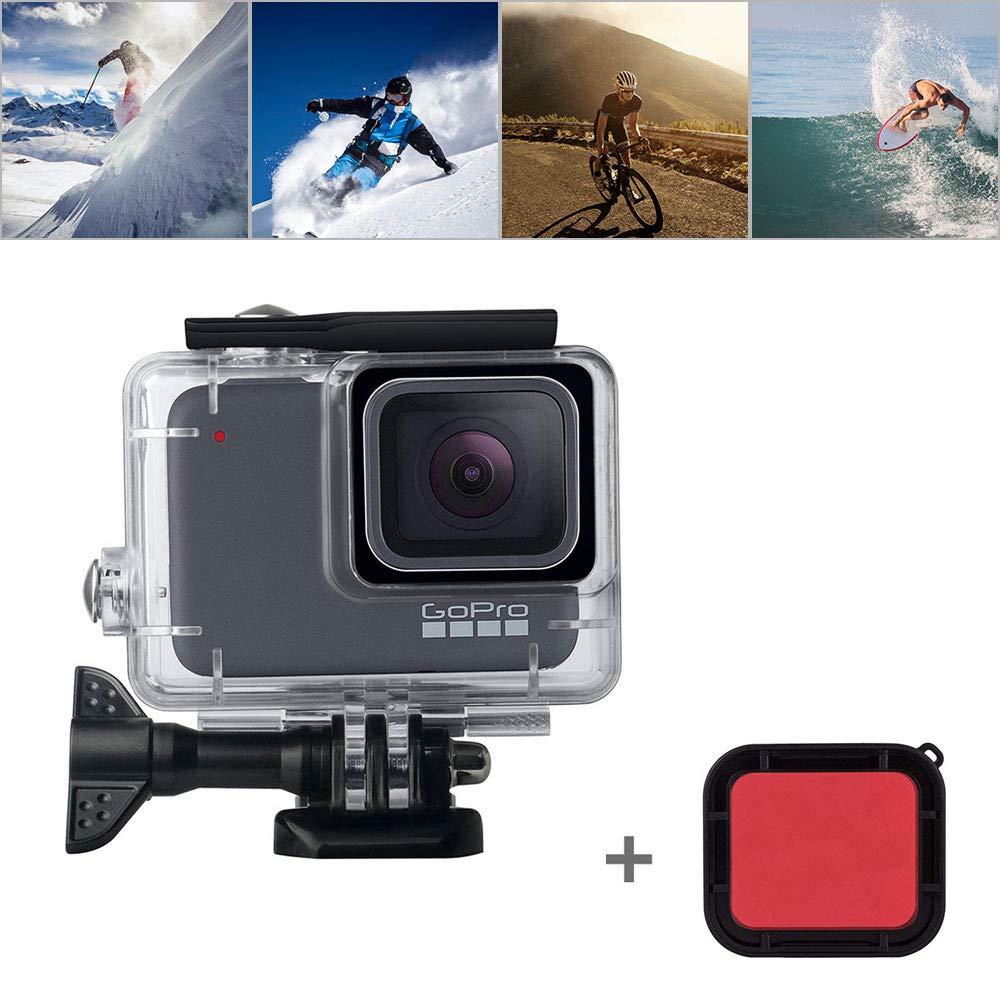 OOOSUE Boîtier de Protection pour GoPro Hero 7 Argent Hero7 Blanc 45m avec Filtre Rouge et Accessoires de Support pour GoPro (2018)