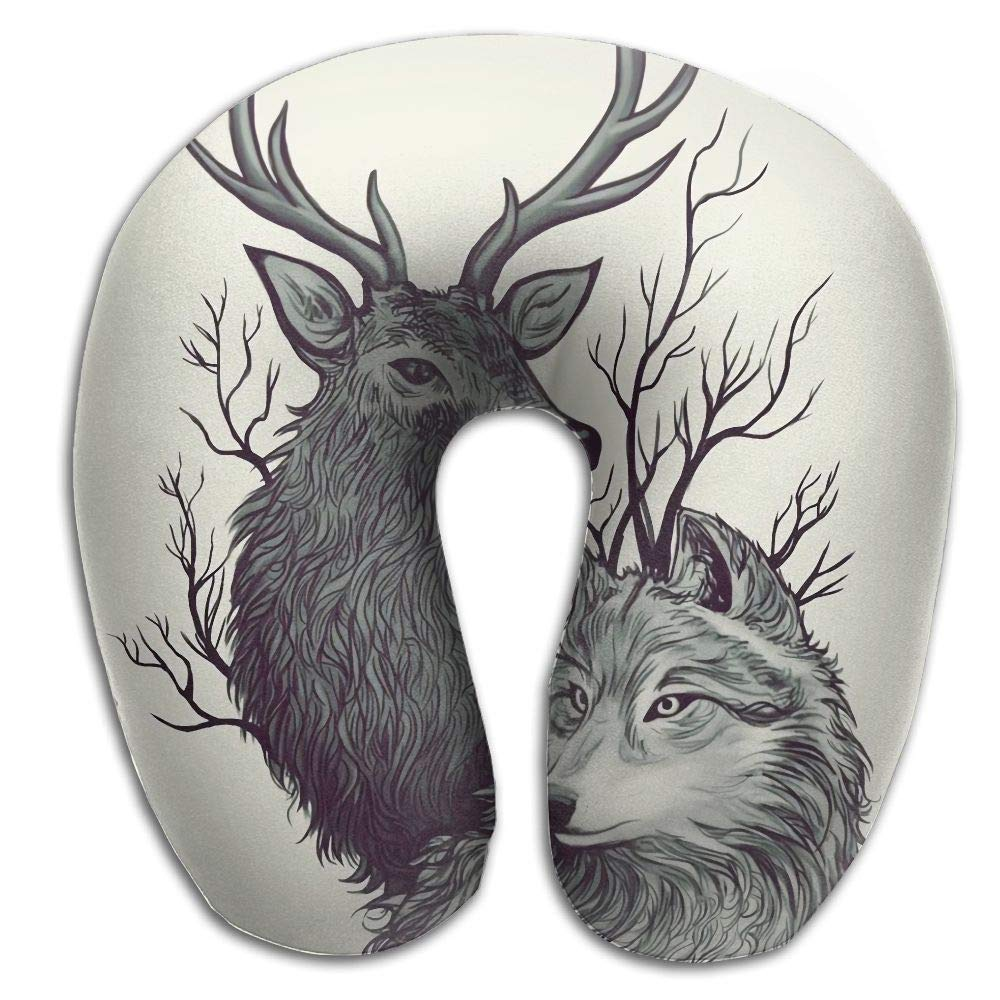 Sdltkhy Deer Wolf Paint Memory Foam U-Shaped Pillow,Fashion Travel Rest Pillow for Neck Pain,Breathable Soft Comfortable Adjustable