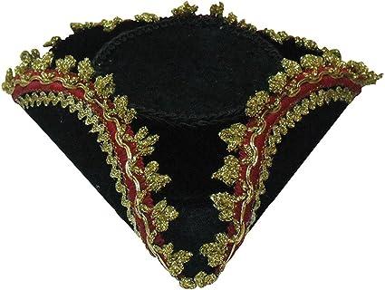 GOLD PATTERN GOLD TRIM PIRATES FANCY DRESS HATS TRICORN HAT