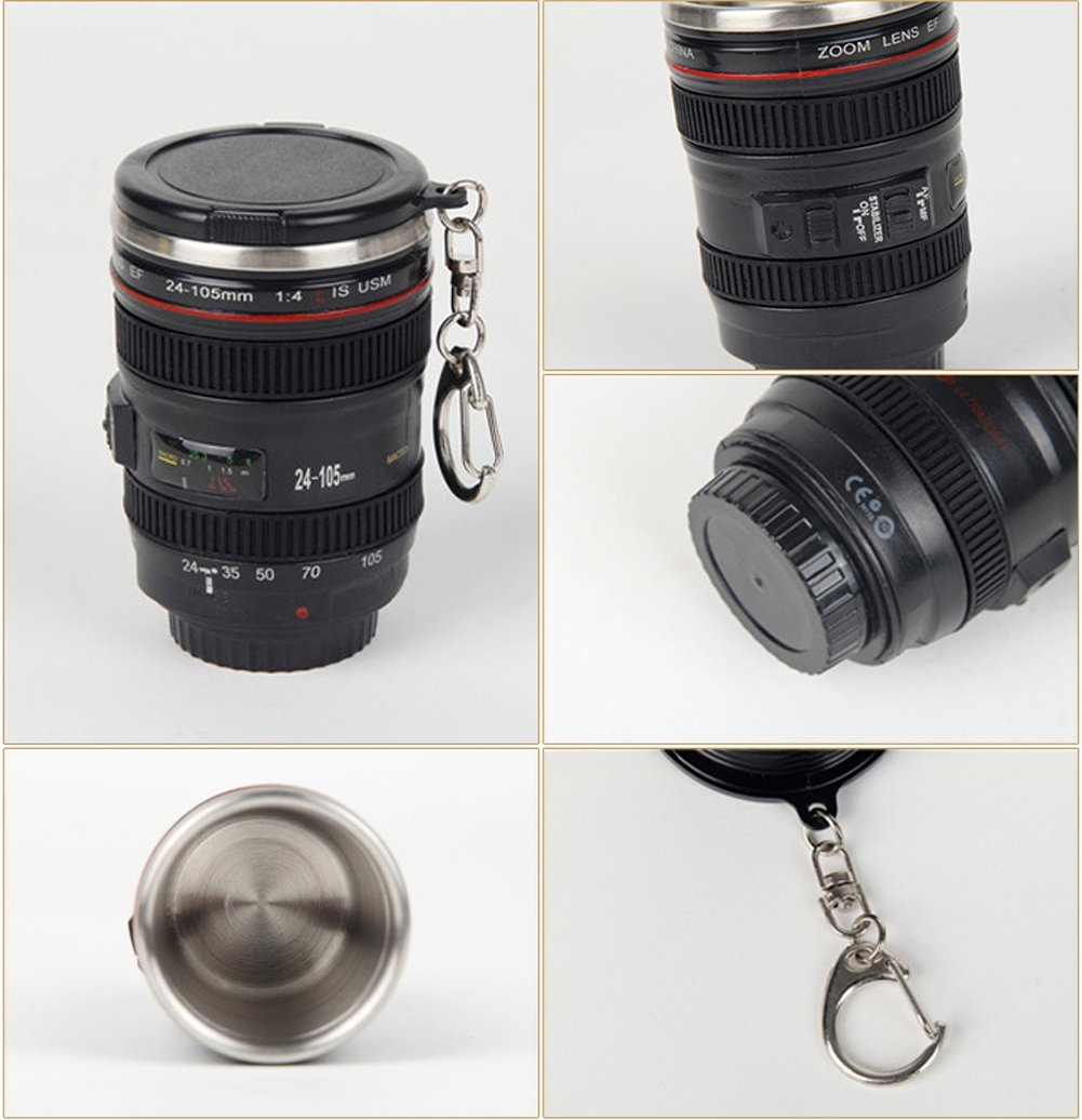 OmeGod Shot Glass - Mini Camera Lens Stainless Steel Thermos Travel Mug, Ideal for Camping/ Hiking/ Hunting Outdoor Drinking and Office Storage (3)