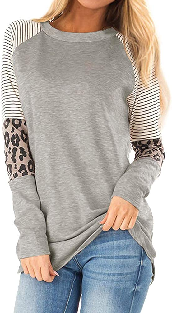 Zxzy Womens Leopard Tunic obere Casual Long Sleeve Tshirt Leopard Color Block Tops
