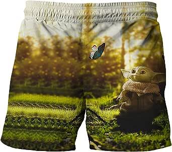 Proxiceen Yoda - Bañador para niño de verano, secado rápido, para playa, carnaval, vacaciones, pantalones cortos hawaianos