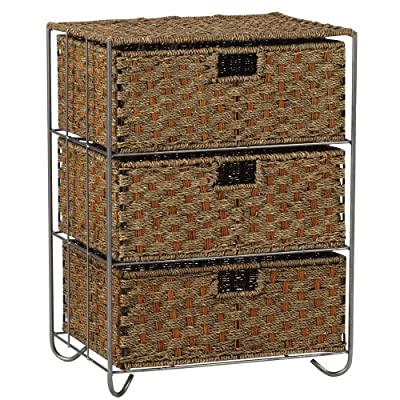 Household Essentials Woven Seagrass and Rattan Storage Unit Side Table with Three Drawers