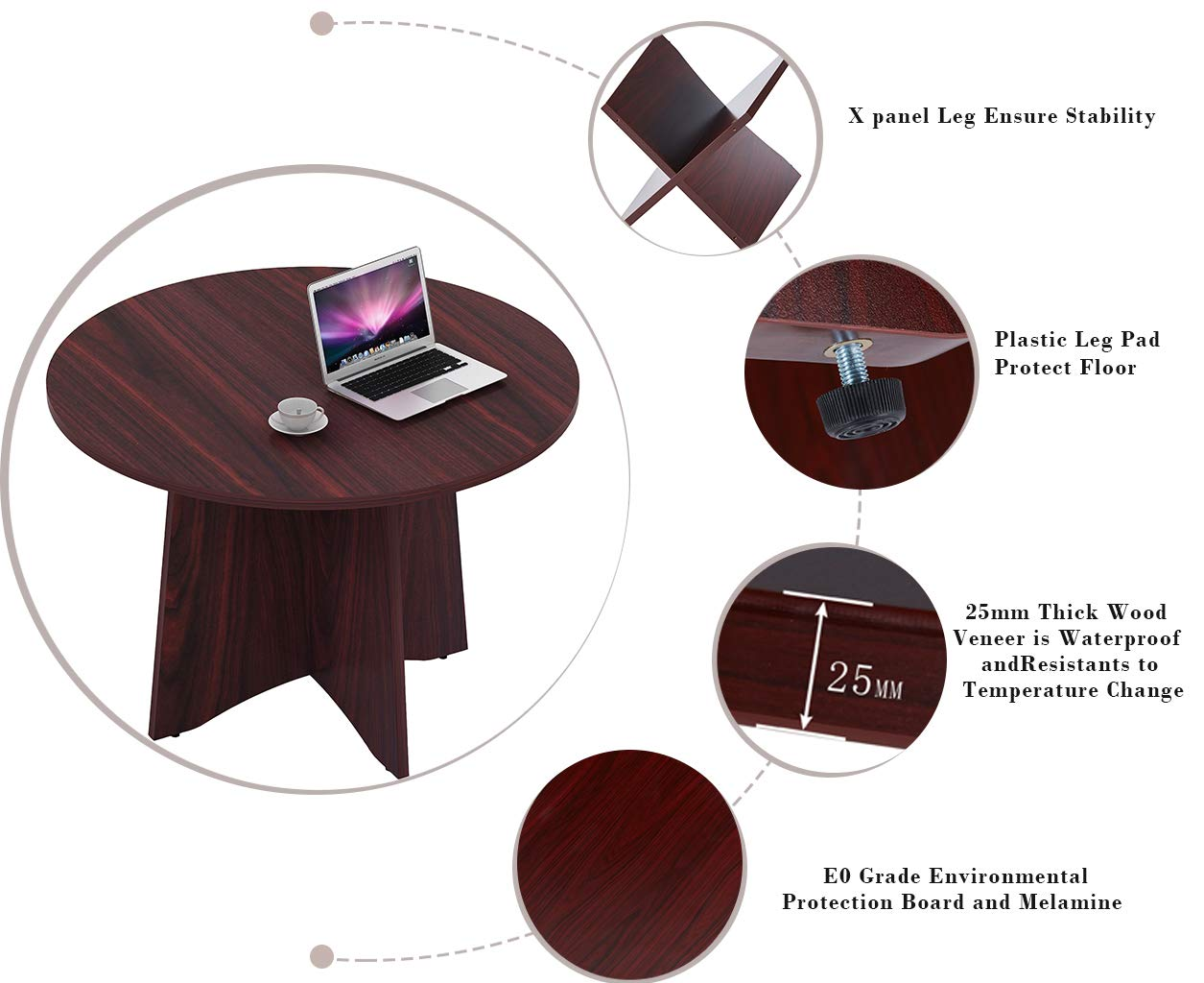 Sunon 47.2 Laminate Round Conference Table Dining Table with X-Shaped Wood Base Mahogany