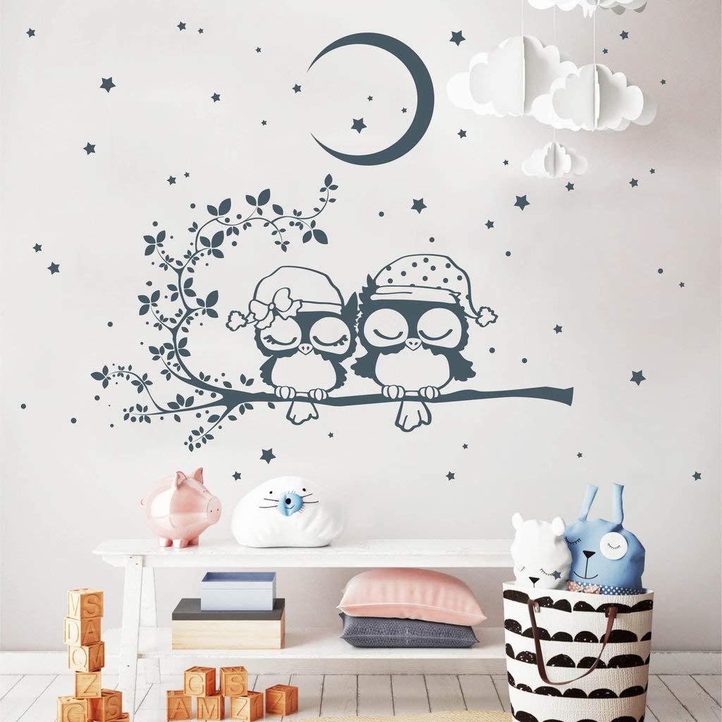 Wandtattoo Gute Nacht Eulen Eulen Eulen auf einem Ast mit Mond und Sternen braun   80 x 101 cm B00MIYO4DU Wandtattoos & Wandbilder d9cde3