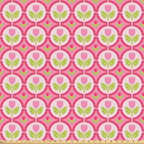 Lunarable Tulip Fabric by The Yard, Tulip Pattern in The Centre of Repeating Circle Frames with Dots Tile, Microfiber Fabric for Arts and Crafts Textiles & Decor, 3 Yards, Pink ()