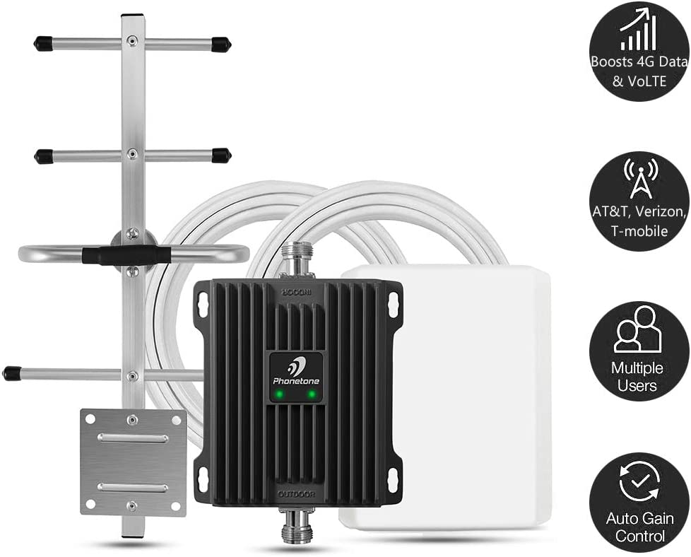 Cell Phone Signal Booster for Home and Office - Boost 4G LTE Data for Verizon AT&T and T-Mobile - 65dB Dual Band 700MHz Band 12/17/13 Cellular Repeater kit with High Gain Panel/Yagi Antennas