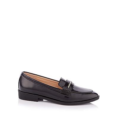 4bfc5878b51 Principles Womens Black Patent  Conga  Block Heel Penny Saddle Loafers 3