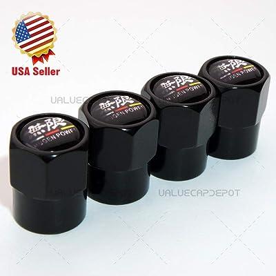 UATUO Universal Hexagon Shape for Color Mugen Power Logo Car Wheel Tire Air Valve Cap Stem Dust Cover (Black Caps): Automotive