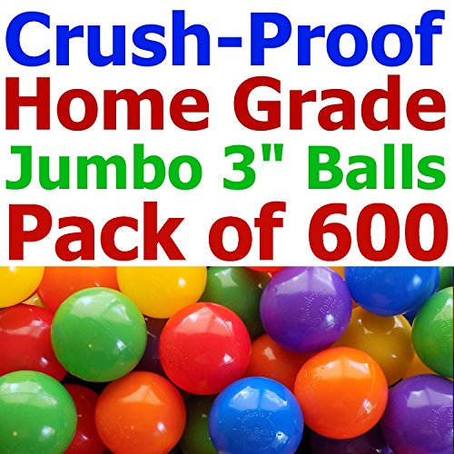 "My Balls Pack of 600 Jumbo 3"" Standard Home Grade Ball Pit Balls 5 Bright Colors; Crush-Proof; Air-Filled; Phthalate Free; BPA Free; non-Toxic; non-Recycled Plastic (Standard Grade, 600)"