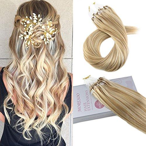 Moresoo 14 Inch Micro Loop Human Hair Extensions 50g 1g/s Micro Loop Brazilian Remy Hair Extensions 1g/s Honey Blonde #14 Highlights with Bleach Blonde #613 Straight Hair Extensions 1g Honey