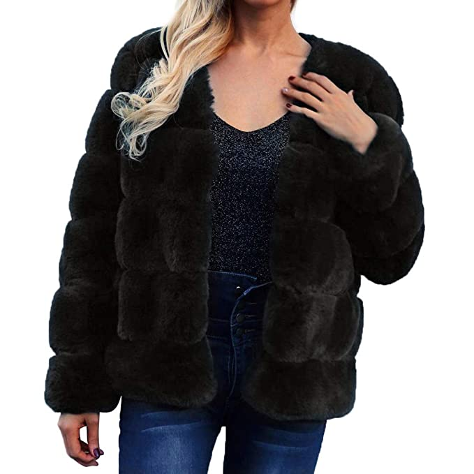 Amazon.com: Dreamyth-Winter Womens Ladies Warm Faux Fur Coat Jacket Solid Winter Gradient Parka Outerwear: Sports & Outdoors