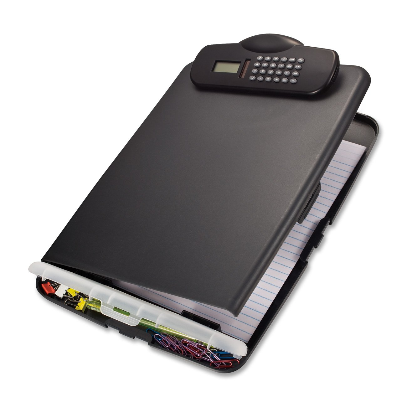 Officemate Slim Clipboard Box with Calculator, Charcoal (83306)