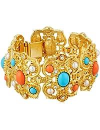 Santorini Turquoise Coral Stone Gold Link Bracelet