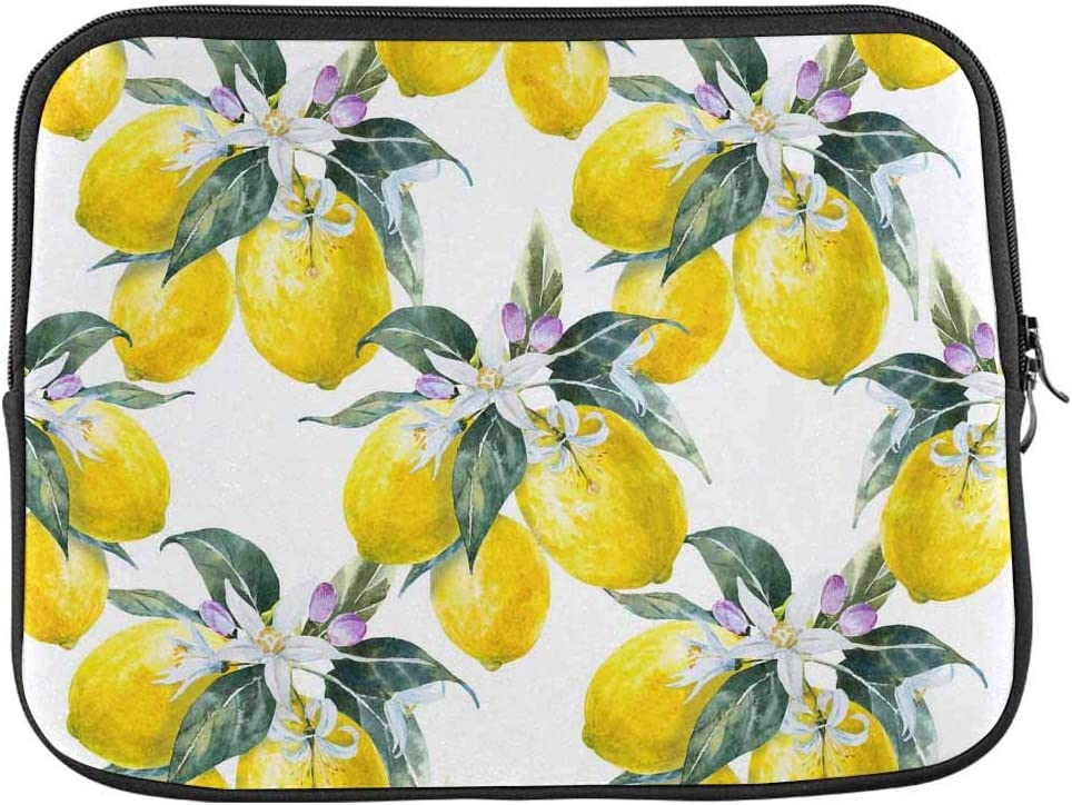 INTERESTPRINT Laptop Protective Sleeve Waterproof Case Bag Lemon Fruit with Flowers Citrus Carrying Case Cover 13 Inch 13.3 Inch