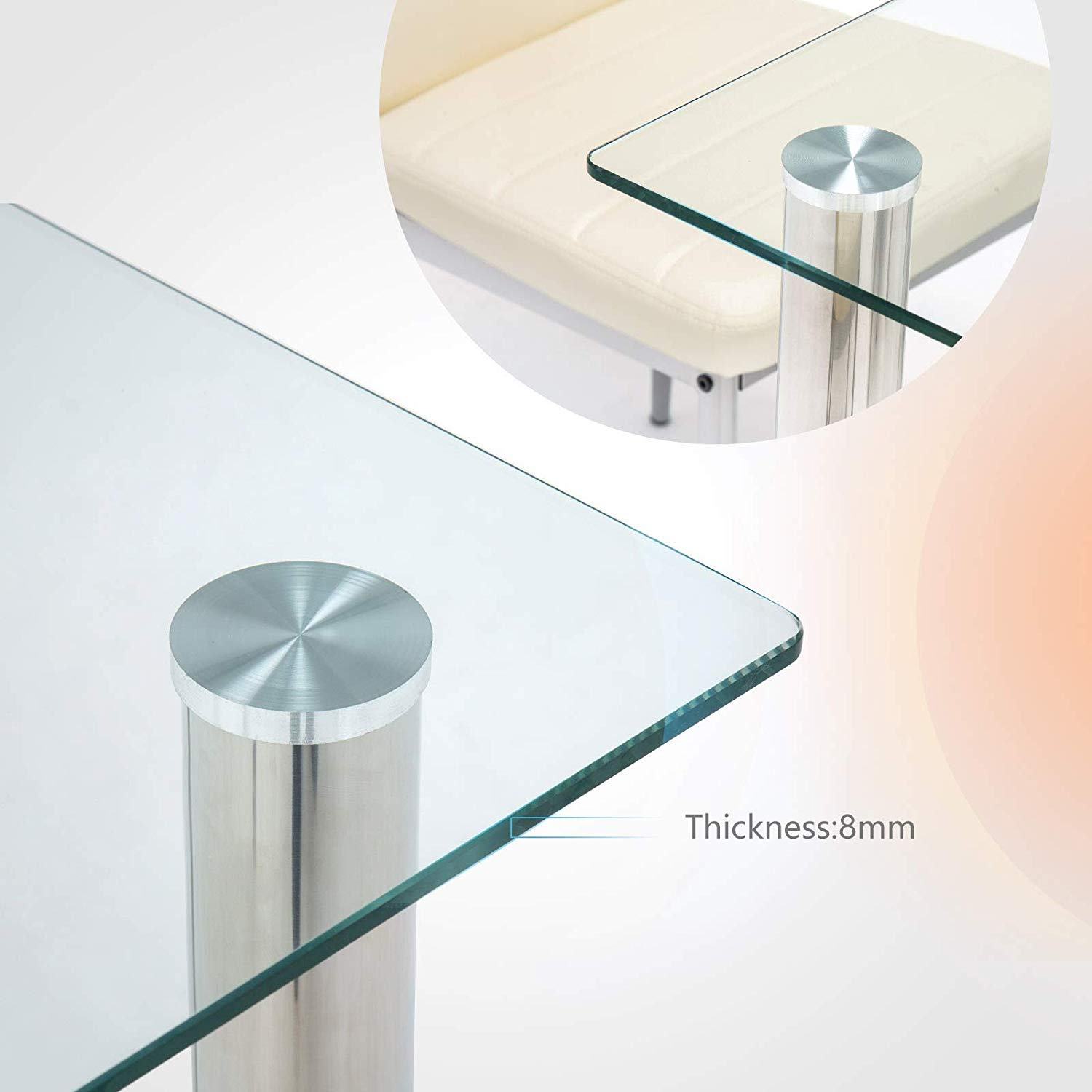 Mecor Dining Table Modern Minimallist Glass Kitchen Table Rectangular Transparent Metal Legs 47IN for 4/6 Persons,Clear by Mecor (Image #4)
