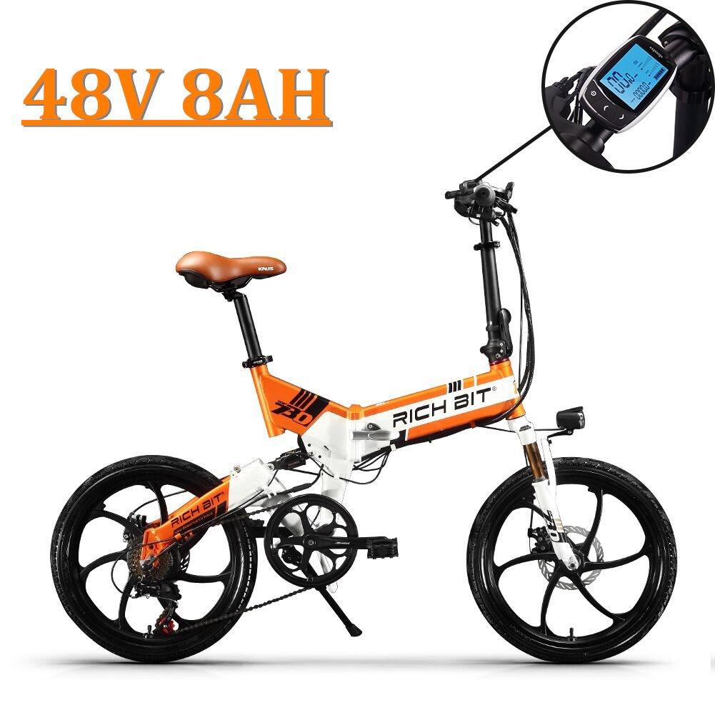 eBike_RICHBIT 730 Bicicletas eléctricas Plegables Bicicleta de Ciudad Bicicleta de cercanías Bicicleta eléctrica Ciclismo 250W 48V 8AH Batería de ...