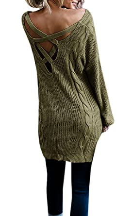 Dressit Womens Sweater Dress Criss Cross Backless Cable Knit ...