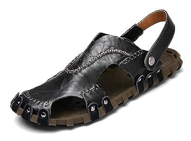 RESPEEDIME Herren Peep-Toe, Schwarz - Schwarz - Größe: 42