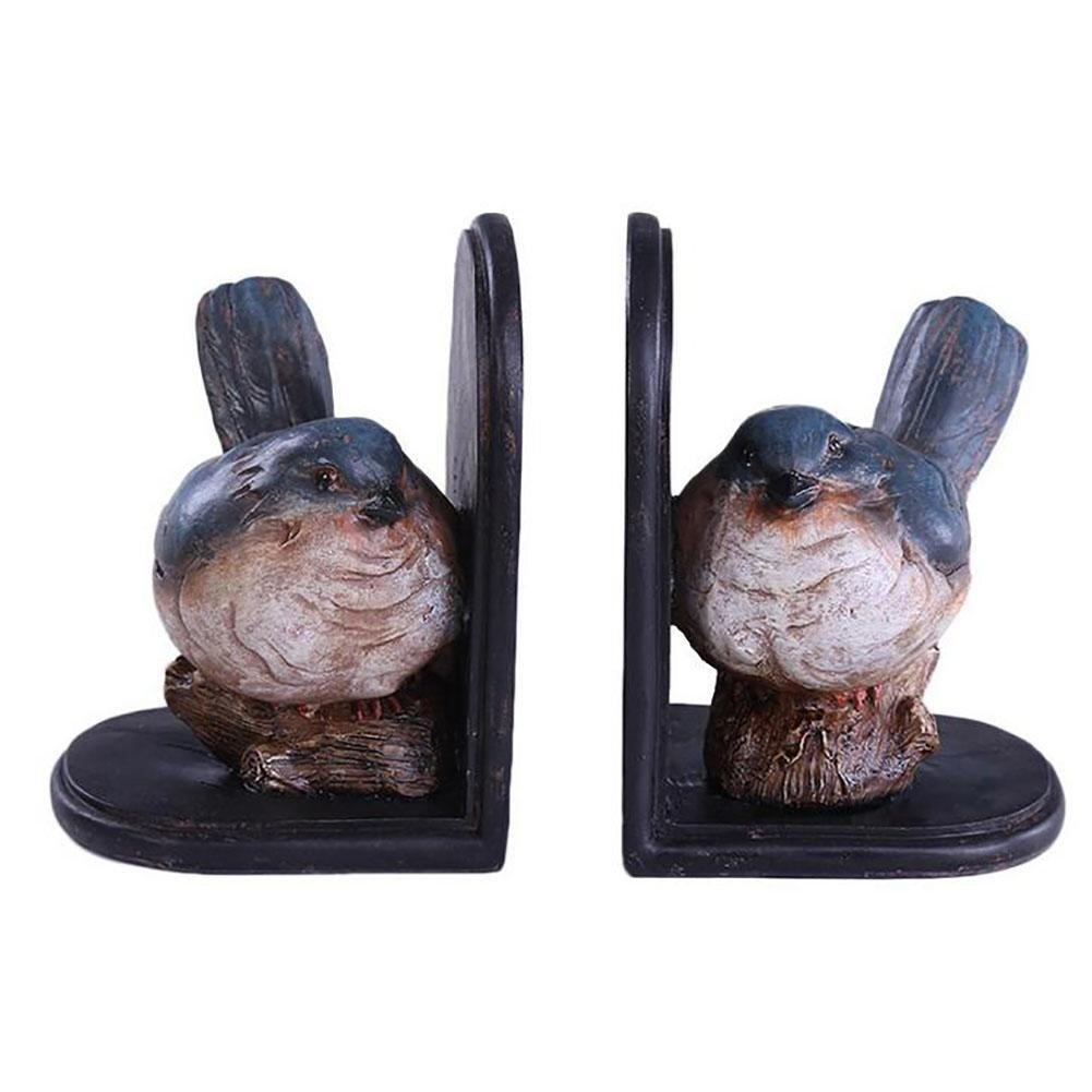 LPY-Set of 2 Bookends Resin Birds Style Handicrafts, Book Ends for Office or Study Room Home Shelf Decorative