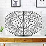 Leighhome Dust Resistant Television Protector with Signs Ecliptic Coordinate System Birth Chart of Solar Print Black White tv dust Cover W25 x H45 INCH/TV 47''-50''