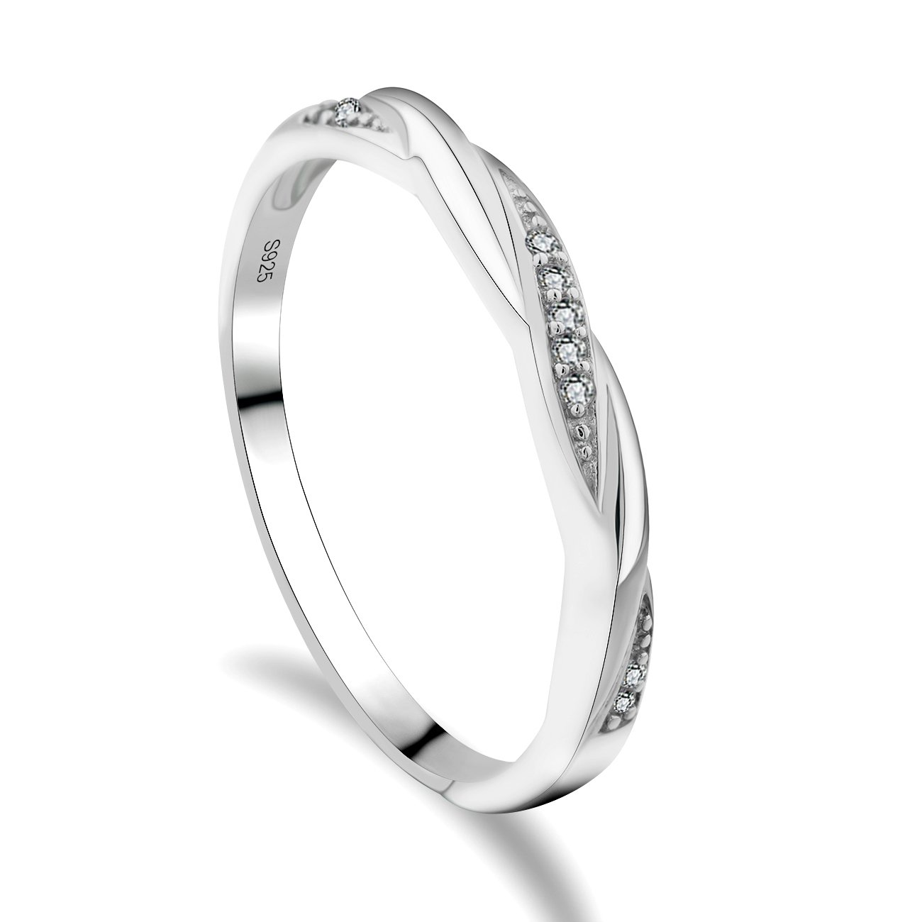 GULICX Skinny 925 Sterling Silver Ring Cubic Zirconia CZ Wedding Promise Eternity Ring Sizes J 1/2, K, L 1/2, N 1/2, O, P, P 1/2, Q, R 1/2, S, T 1/2, U, V, W Gelei Jewelry Co. Ltd. SR05